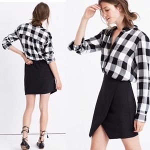 Madewell Black Silk Parkway Wrap Skirt